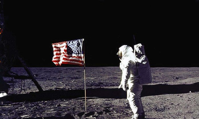 """Edwin E. """"Buzz"""" Aldrin, Jr. saluting the US flag on the surface of the Moon during the Apollo 11 lunar mission.  (NASA/AFP/Getty Images)"""