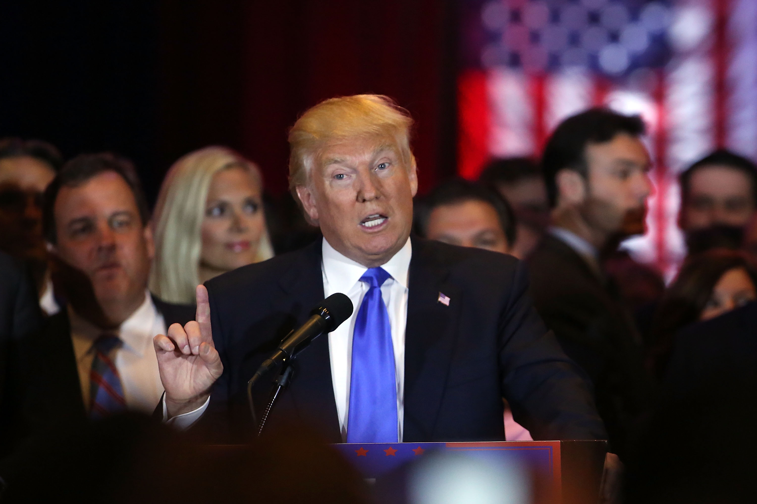 Then Republican presidential candidate Donald Trump  speaks to supporters and the media at Trump Towers following the conclusion of primaries Tuesday in northeastern states in New York on April 26, 2016. (Spencer Platt/Getty Images)