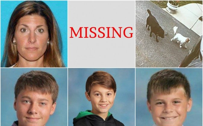 """40-year-old Michalene Melges (top left) and her children, (bottom left to right) 14-year-old Hans, 12-year-old Kristian """"Max,"""" and 10-year-old Maverik """"Buddy"""" were last seen on May 10. They're believed to be traveling with their two dogs (top right) King and Gigi. (Lake Geneva Police Department photos)"""