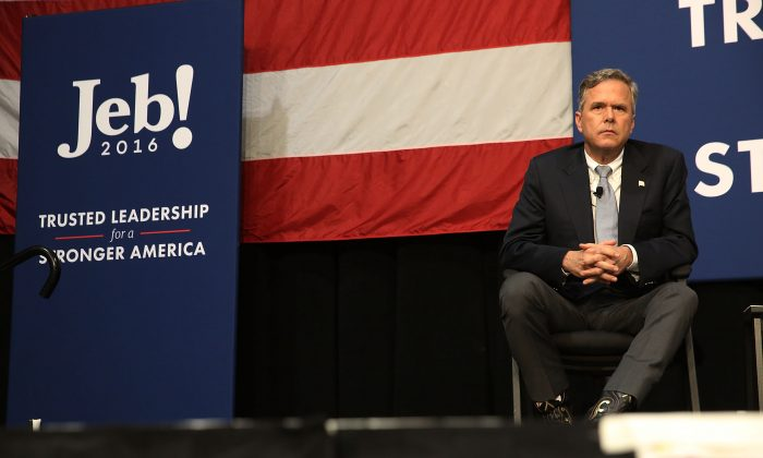 Republican Presidential candidate Jeb Bush watches as his brother, former President George W. Bush, speaks at a campaign rally on February 15, 2016 in North Charleston, South Carolina. The Bush campaign is seeking support in South Carolina, where George W. Bush is popular with the state's large military population, before the Republican primary on Saturday, February 20. (Photo by Spencer Platt/Getty Images)