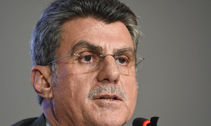 The Planning Minister in Brazil's interim government, Romero Juca, offers a press conference in Brasilia on May 20, 2016. (Evaristo Sa/AFP/Getty Images)