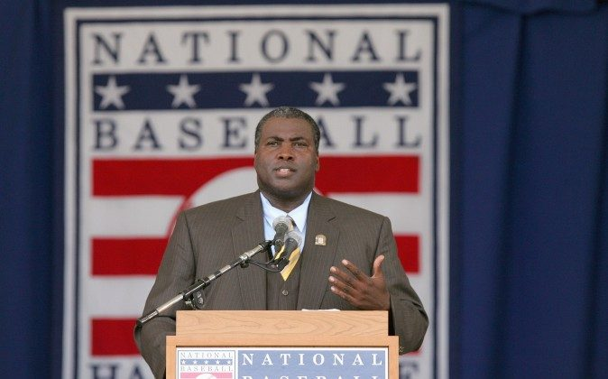 COOPERSTOWN, NY - JULY 29: 2007 inductee Tony Gwynn gives his acceptance speech at Clark Sports Center during the Baseball Hall of Fame induction ceremony on July 29, 2007 in Cooperstown, New York. (Photo by Chris McGrath/Getty Images)