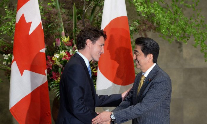 Prime Minister Justin Trudeau meets with Japan's Prime Minister Shinzo Abe at the Abe's official residence in Tokyo on May 24, 2016. (The Canadian Press/Sean Kilpatrick)