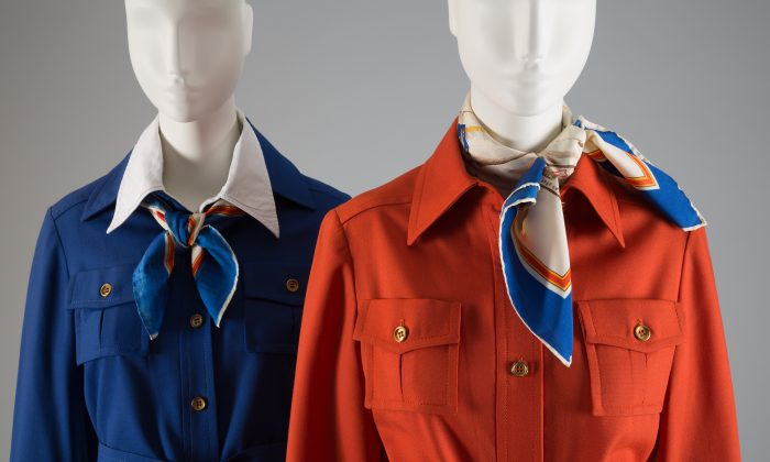 TWA flight attendant uniforms designed by Stan Herman, 1975, synthetic blend, USA. (Courtesy of The Museum at FIT)
