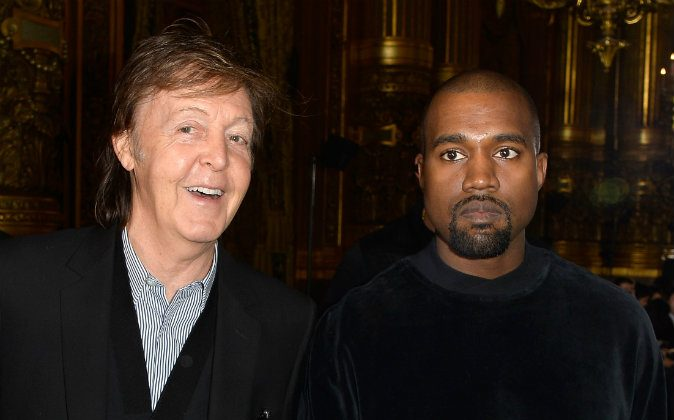(L-R) Paul McCartney and Kanye West attend the Stella McCartney show as part of the Paris Fashion Week Womenswear Fall/Winter 2015/2016 on March 9, 2015 in Paris, France. (Pascal Le Segretain/Getty Images)