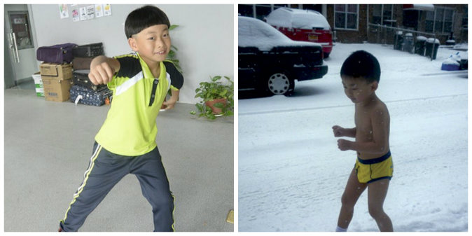 8-year-old He Yide, after becoming well-known for running in the snow with only his underpants in New York four years ago (R), is subjected to rigorous study schedule by his tiger dad. (Modern Express and Youtube)