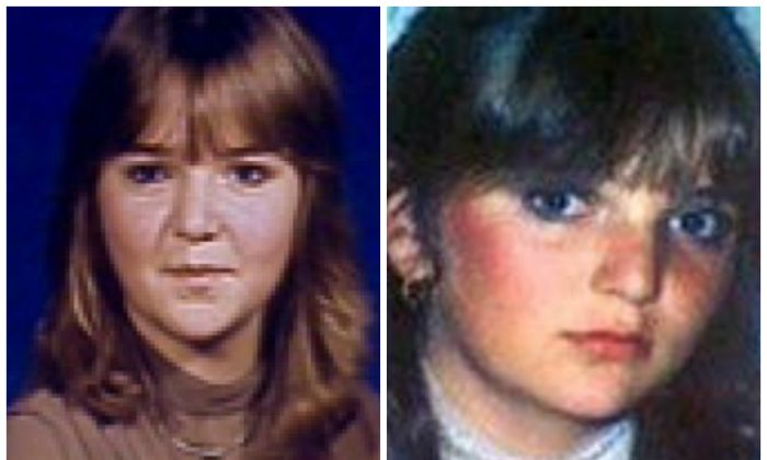 Dana Bradley, pictured at 14 on the left. A younger image of the murdered girl is on the right.