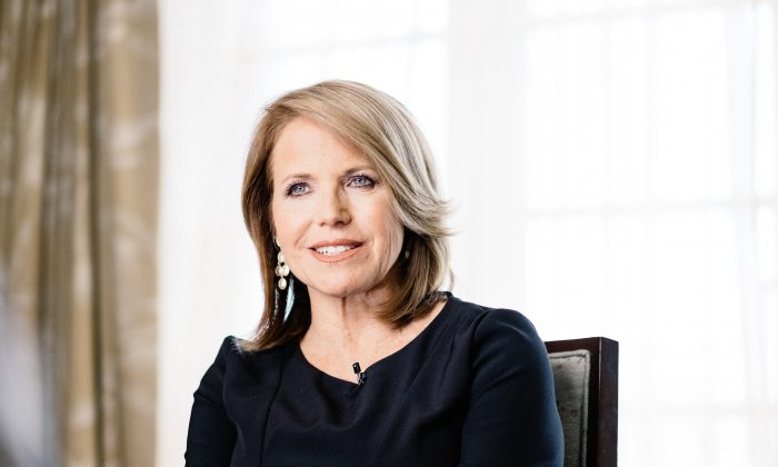 Katie Couric speaks during an interview promoting the EPIX Original Documentary 'Under The Gun' on May 3, 2016 in Los Angeles, California.  (Photo by Mike Windle/Getty Images For EPIX)