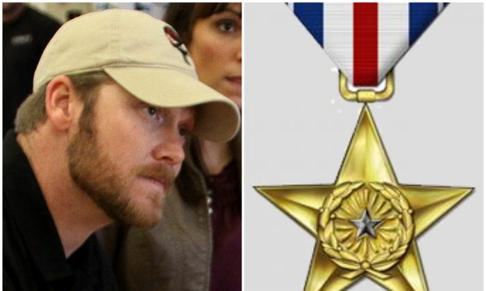 """Left: SEAL Sniper Chris Kyle signs a copy of his book """"American Sniper"""" for a Camp Pendleton sailor at the base's Country Store, Jan. 13, 2012. (Cpl. Damien Gutierrez/U.S. Marine Corps); Right: Silver Star medal. (U.S. Air Force)"""