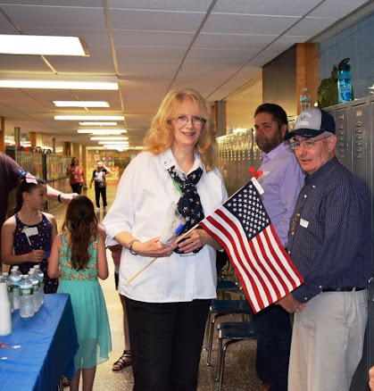 Fifth grade teacher at Minisink Valley Intermediate School, Rosemary Marcolina during an event she organized  to honor veterans in her class on May 24, 2016. (Courtesy Minisink Valley Schools)