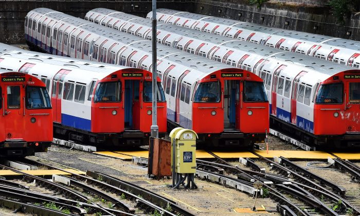 Tube trains are parked at the Bakerloo line depot in London on August 6th, 2015 during a strike by Underground staff over plans to run trains all night at weekends. Weekend 24-hour services will be launched on the Central and Victoria lines from  August 19th.  (BEN STANSALL,BEN STANSALL/AFP/Getty Images)
