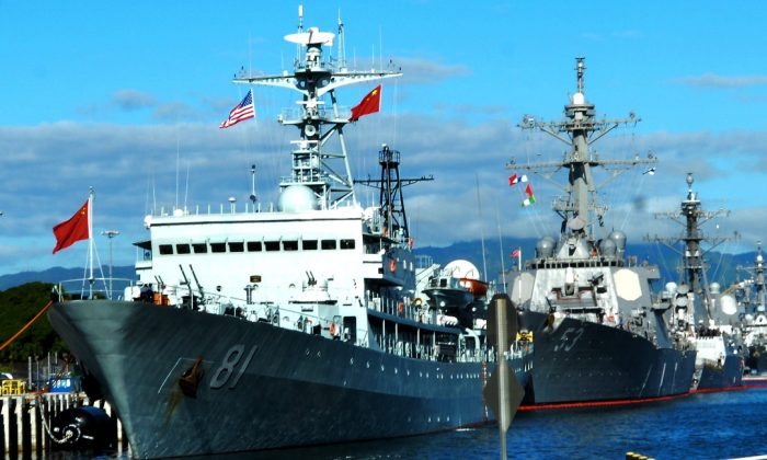 The People's Liberation Army Navy training ship Zheng He at Pearl Harbor. (U.S. Navy)