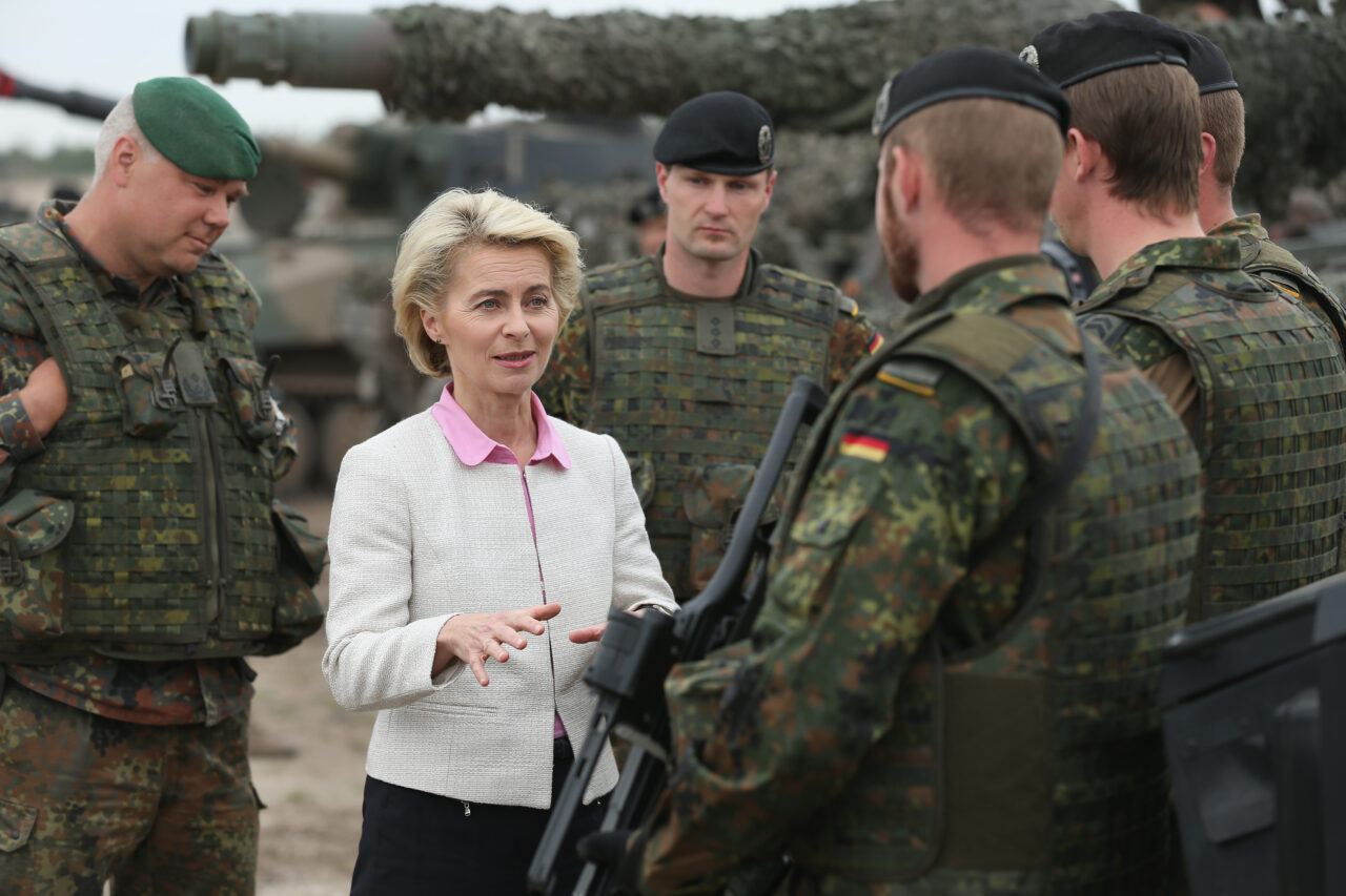 German Defence Minister Ursula von der Leyen chats with troops of the German armed forces, the Bundeswehr, while attending the NATO Noble Jump military exercises of the VJTF forces in Zagan, Poland, on June 18, 2015. (Sean Gallup/Getty Images)