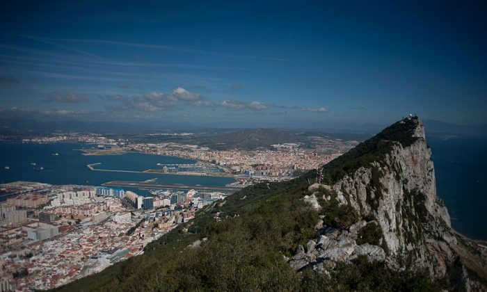 A picture taken on March 17, 2016 shows the Rock of Gibraltar with Spain in background. (JORGE GUERRERO/AFP/Getty Images)