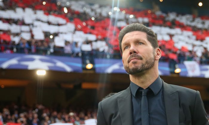 Diego Simeone, Atlético de Madrid coach, prior to the UEFA Champions League semi-final match between Atletico de Madrid and FC Bayern Muenchen at Vincente Calderon in Madrid, Spain, on April 27, 2016. (Alexander Hassenstein/Bongarts/Getty Images)