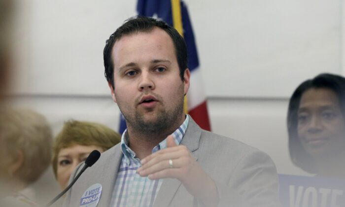 Reality TV personality Josh Duggar speaks in favor of the Pain-Capable Unborn Child Protection Act at the Arkansas state Capitol in Little Rock, Ark., on Aug. 29, 2014. (Danny Johnston/AP Photo)