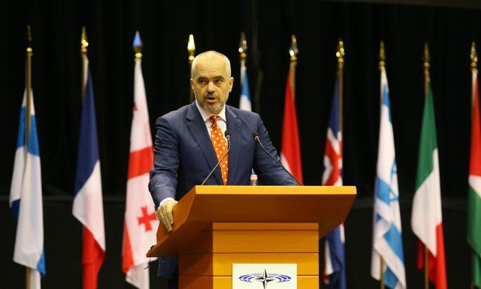 Albanian Prime Minister Edi Rama at the NATO Parliamentary Assembly Spring session in Tirana, Albania, on May 30, 2016. (Hektor Pustina/AP Photo)