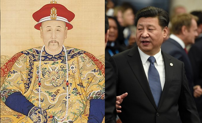"""(L) """"Portrait of the Yongzheng Emperor in Court Dress,"""" by anonymous court artists, Yongzheng period (1723—1735). (Public Domain-Art) (R) Chinese leader Xi Jinping in Le Bourget, outside Paris, on Nov. 30, 2015. (Martin Bureau/AFP/Getty Images)"""