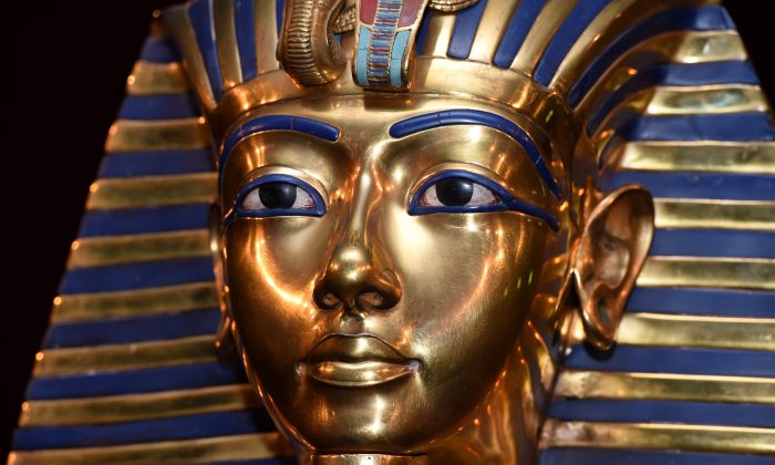 The burial mask of Egyptian Pharaoh Tutankhamun is shown during the 'Tutanchamun - Sein Grab und die Schaetze' Exhibition Preview at Kleine Olympiahalle on April 2, 2015 in Munich, Germany.  (Photo by Hannes Magerstaedt/Getty Images)