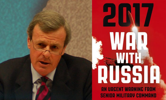 """General Sir Richard Shirreff and the cover of his book """"2017 War With Russia."""" (Chatham House via Wikimedia, CC BY)"""
