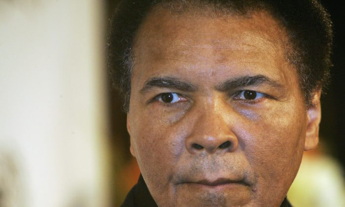 Boxing legend Muhammad Ali attends the award presentation of the Otto Hahn Peace Medal (Otto Hahn Friedensmedaille) on December 17, 2005 in Berlin, Germany. (Carsten Koall/Getty Images)
