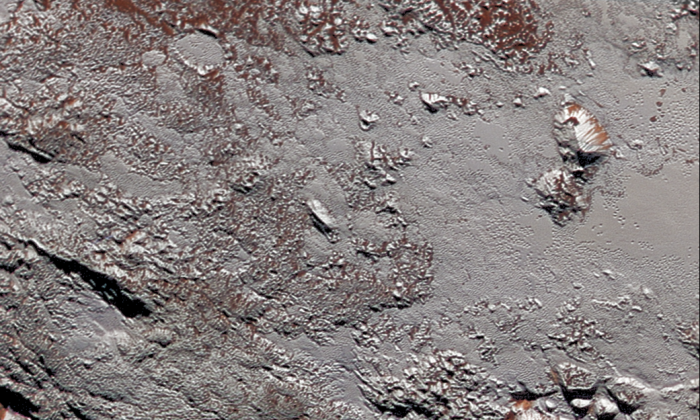 Scientists with NASA's New Horizons mission have assembled this highest-resolution color view of one of two potential cryovolcanoes spotted on the surface of Pluto by the New Horizons spacecraft in July 2015. (NASA/JHUAPL/SwRI)