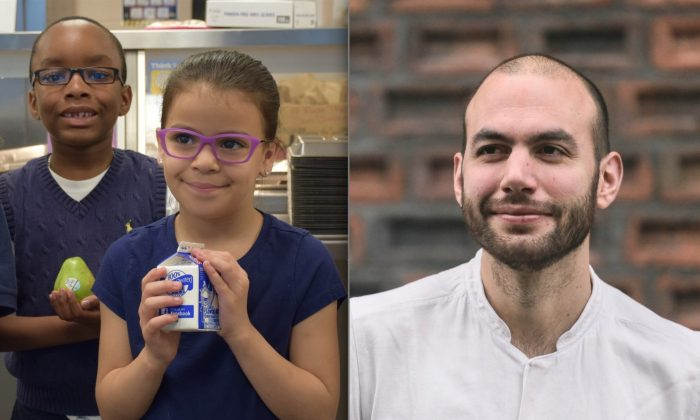 (L) New London, Conn., students with healthy food in their school cafeteria. (R) Dan Gusti, founder of Brigaid, a company that aims to improve the quality of school cafeteria food by putting chefs in school. (Courtesy of Brigaid)