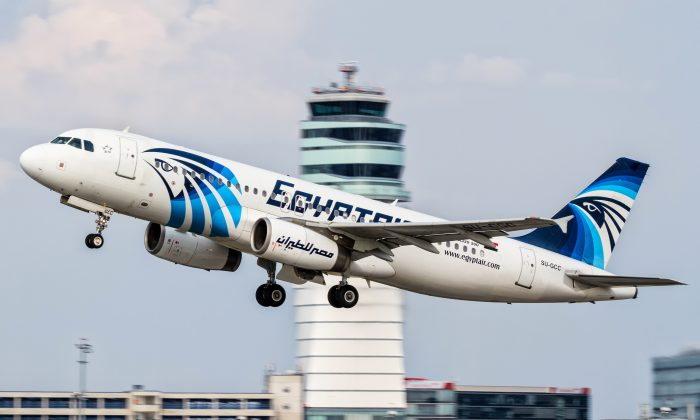 An EgyptAir Airbus A320 with the registration SU-GCC taking off from Vienna International Airport, Austria, on August 21, 2015. (AP Photo/Thomas Ranner, File)