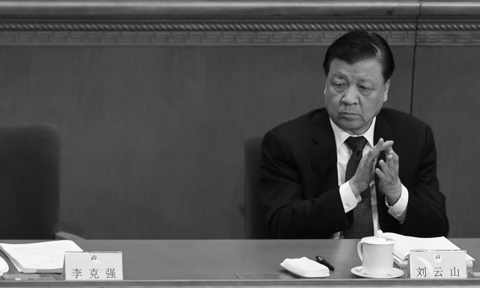 Liu Yunshan, the propaganda chief and Politburo Standing Committee member, seen in Beijing on March 5, 2016, is one Jiang Zemin's few allies left in a senior position in the party and the last senior Chinese official to visit North Korea in several years.  (Wang Zhao/AFP/Getty Images)