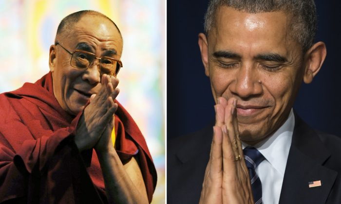 The Dalai Lama (R) and President Barack Obama met in the White House on June 15, angering China. (Jewel Samad/AFP/Getty Images) ((AP Photo/Evan Vucci)