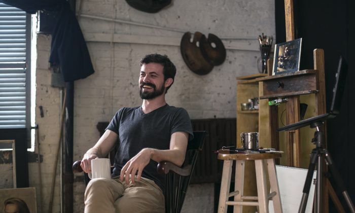Artist Edmond Rochat talks about his life and work in his studio at the NYK Academy in Spanish Harlem, New York, on May 31, 2016. (Samira Bouaou/Epoch Times)