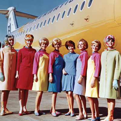 Braniff International Airways hostesses in uniforms by Emilio Pucci, 1965. (Braniff International Public Relations Archives, History of Aviation Collection, UT-Dallas)