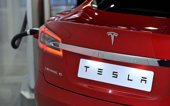 The Tesla Model S electric car is displayed during the 2016 London Motor Show at Battersea Evolution Marquee on May 5, 2016 in London, England. (Jim Dyson/Getty Images)