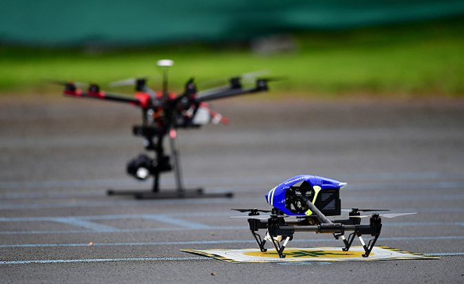 CHANTILLY, FRANCE - JUNE 15: Police drones are prepared during a training session at Stade du Bourgognes ahead of the UEFA Euro 2016 match against Wales on June 15, 2016 in Chantilly, France. (Photo by Dan Mullan/Getty Images)