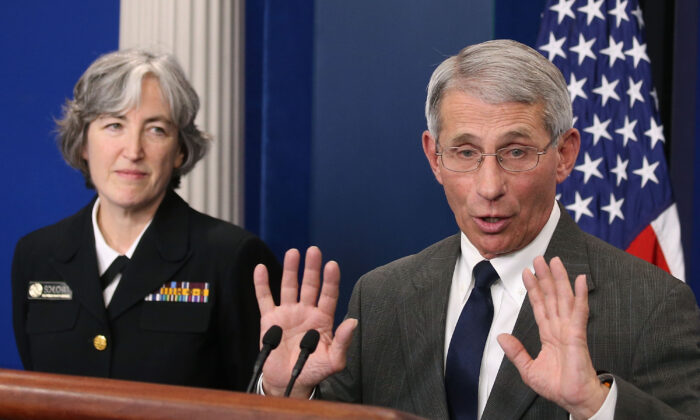 Dr. Anthony S. Fauci, director of the National Institute of Allergy and Infectious Diseases (NIAID), and Dr. Anne Schuchat, principal deputy director of the U.S. Centers for Disease Control and Prevention (CDC), speak to the media about the Zika virus, during a briefing at the White House, on Feb. 8. (Mark Wilson/Getty Images)