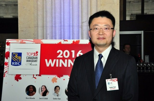 Vancouver filmmaker Leon Lee, one of RBC's Top 25 Canadian Immigrants of 2016, during the awards ceremony at One King West Hotel in Toronto on June 21, 2016. (Courtesy Flying Cloud Productions)