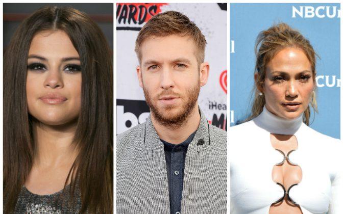 L–R: Selena Gomez, Calvin Harris, and Jennifer Lopez. (Adrian Gonzalez/Getty Images; Frazer Harrison/Getty Images for iHeartRadio / Turner); Slaven Vlasic/Getty Images)
