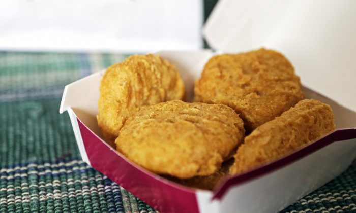 Chicken McNuggets are displayed in Olmsted Falls, Ohio, on March 4, 2015. (AP Photo/Mark Duncan)