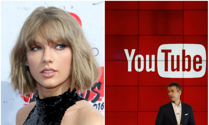 """Singer Taylor Swift attends the iHeartRadio Music Awards at The Forum on April 3, 2016 in Inglewood, California. (Frederick M. Brown/Getty Images);Right: In this Oct. 21, 2015, file photo, YouTube Chief Business Officer Robert Kyncl speaks at the unveiling of """"YouTube Red,"""" a new subscription service, at YouTube Space in Los Angeles. (AP Photo/Danny Moloshok, File)"""