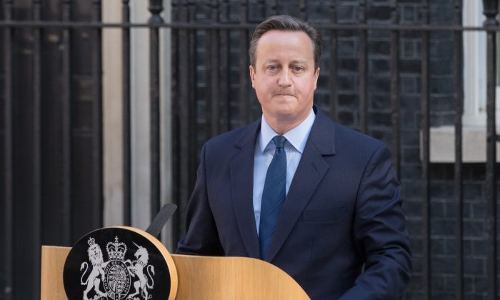 British Prime Minister David Cameron resigns on the steps of 10 Downing Street in London, England, on June 24, 2016. (Matt Cardy/Getty Images)