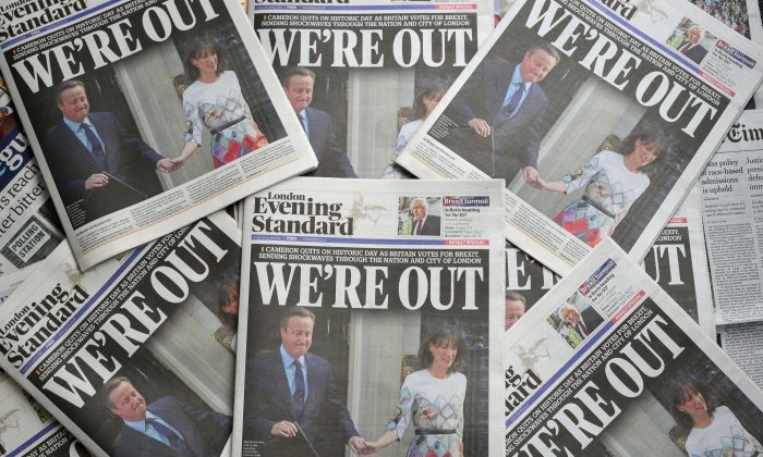 An arrangement of newspapers pictured in London on June 24, 2016, after the result of the U.K.'s vote to leave the EU in the June 23 referendum. (Daniel Sorabji/AFP/Getty Images)