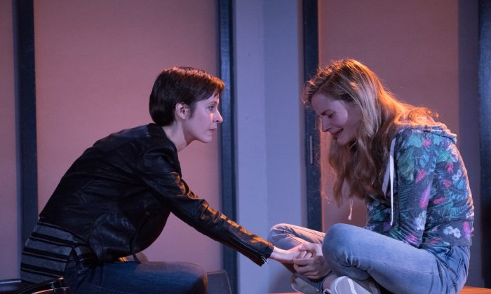 """Journalist Erika (Jocelyn Kuritsky) tries to get at the story of a fraternity gang rape endured by Ashley (Lexi Lapp), in """"Stet."""" (Ben Strothmann)"""