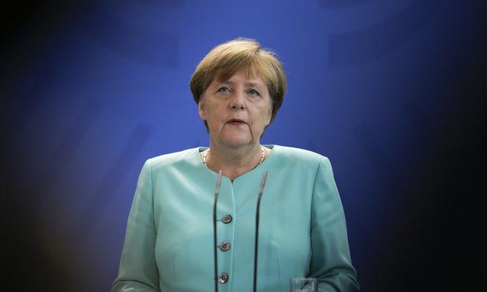 German Chancellor Angela Merkel in Britain at the chancellery in Berlin, on June 24, 2016. (AP Photo/Markus Schreiber)