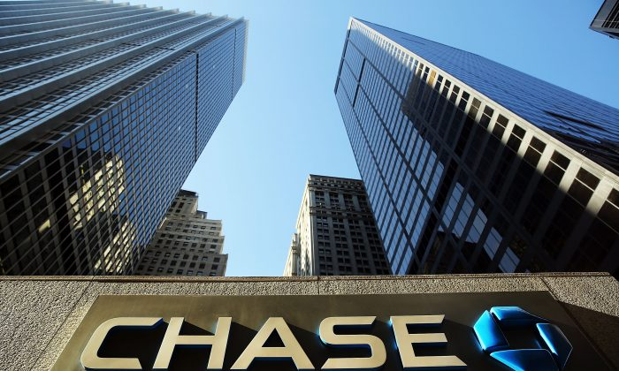 A sign hangs on One Chase Plaza in lower Manhattan, New York City, in a photo taken on Oct. 14, 2014. (Spencer Platt/Getty Images)