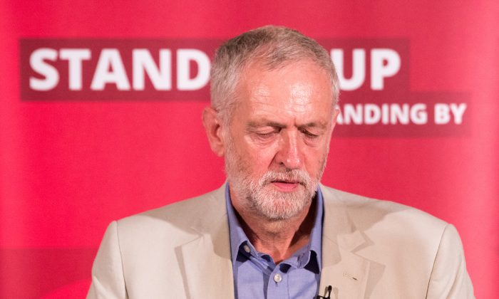 Labour Party leader Jeremy Corbyn speaks at a post-Brexit speech at the Maxwell Library in central London, England, on June 25, 2016. (Matt Cardy/Getty Images)