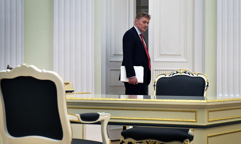 Kremlin spokesman Dmitry Peskov entering a hall at the Kremlin in Moscow on on March 24, 2016. (ALEXANDER NEMENOV/AFP/Getty Images)