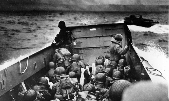 US assault troops in an LCVP landing craft approach Omaha Beach on June 6, 1944. (AP Photo)
