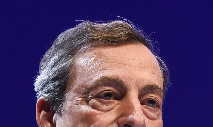 European Central Bank President Mario Draghi speaks during the Brussels Economic Forum in Brussels on June 9. (John Thys/AFP/Getty Images)