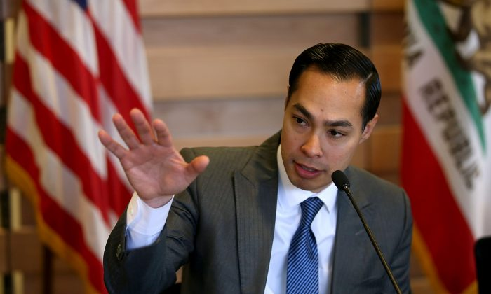 Then-Housing and Urban Development secretary Julian Castro speaks during a round table discussion after touring a new affordable housing facility in Sunnyvale, Calif., on April 8, 2016. (Justin Sullivan/Getty Images)