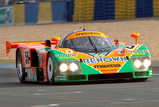 Tristan Nunez qualified second in the #55 Mazda Prototype, painted as a tribute to Mazda's Le Mans-winning 1991 787B. (IMSA.com)